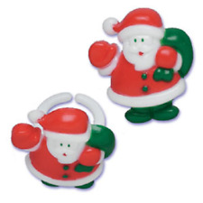 Christmas Cake Toppers Santa Cupcake Rings One Dozen