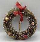 Vintage Christmas 8' Bottle Brush Wreath Mercury Glass Candle Fruit & Pinecones