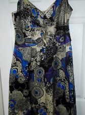 PLANET Beige Blue & Black Strappy V Neck Long Length Silk Party Dress Size 14