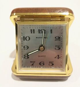 Vintage Bucherer Working Battery Powered Travel Alarm Clock Germany