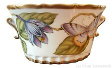 """ANNA WEATHERLEY, IRISES & PANSY 7"""" PORCELAIN CACHEPOT, 2 SIDED, RETAIL $538, NEW"""