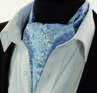 Sky Blue Floral Paisley Cravat Ascot Tie Scarf A2