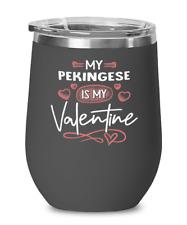Pekingese Dog Lovers Wine Glass Insulated 12oz Black Tumbler Mug Cute Gift for D
