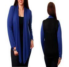 T28 NEW Womens Blue Black Plus Size 14/16 Long Sleeves Knit Outerwear Cardigan