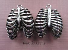 2 x RIB CAGE ANATOMICAL SCIENCE Tibetan Silver 3D Charms Pendants Beads