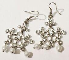 Bijou Vintage boucles d'oreilles percées perle cristaux diamant pampillle * 3464
