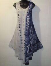 Dress Fits XL 1X 2X 3X Plus Sundress Blue Batik Tunic A Shaped Fringe NWT 7132