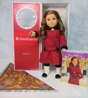 American Girl REBECCA DOLL IN MEET OUTFIT BOOK Brooch Brunette Hazel Eyes BOX