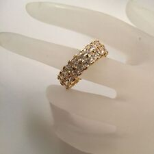 Princess Cut Swarovski Crystal 18K Yellow Gold Electroplated Eternity Ring 10