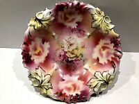 RS PRUSSIA LILY MOLD BERRY DESSERT BOWLS C.1910 - NICE & STUNNING COLOURS