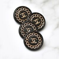 Chanel Buttons 4pc CC Black & Gold Chain 18mm SM 4 Buttons unstamped AUTH!!!