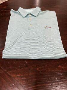 GREG NORMAN Mens XL Performance Fabric Golf Polo Shirt Play Dry Green/Blue