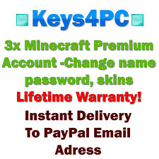 3x Minecraft Premium Accounts - Change Username Password Skins Lifetime Warranty