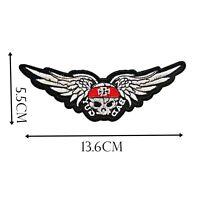 Iron On Patch Skull & Wings Black White 13x5 cm Motif Biker Punk Rock Goth P517