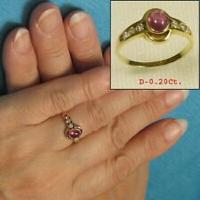 14k Solid Yellow Gold Genuine Diamonds, Natural Red Ruby Solitaire Ring TPJ