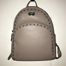 MICHAEL KORS Abbey Cinder Grey Leather Studded Backpack 38F7XAYB7L NWT $398