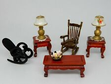 Vintage Dollhouse Furniture Lot Rocking Chairs Table & Lamps 1:24 1/2 Scale