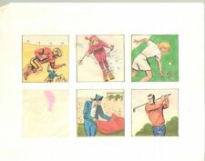 5 Color Sports Insets Football, Skiing, Tennis, Bullfighting art by George Papp Comic Art