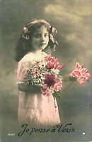 Antique Cute Fashion Girl RPPC Real Photo Postcard Hand Colored Flowers #98