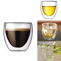 80ML Clear Double Wall Coffee Glass Mug Cups Insulate Office Tea Mug BJ