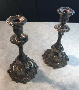 Ornate  Pair Silverplate Bell Mark 1785-1860 Sheffield Candlestick Candle Holder