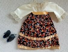 Victorian Dress From Bisque Head Doll 18 Inches Shoes Black Autumn Fall Theme