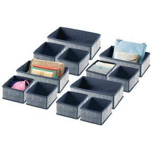 mDesign Fabric Drawer and Closet Storage Organizer, 4 Pack - Navy Blue
