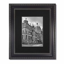 One 11x14 Ornate Black Picture Frame, Glass & Single Black Mat for 8x10