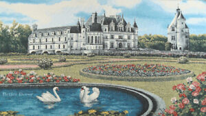 """33"""" WALL JACQ. WOVEN TAPESTRY Medieval Chenonceau Castle, France - SWAN PICTURE"""