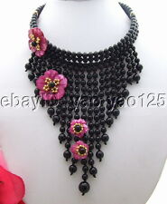 R042202  Onyx Shell Flower Statement Necklace