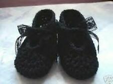 Black Hand Crochet Mary Jane Shoes For The My Size Barbie Doll