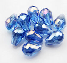 20pcs 8x12mm Faceted Glass Crystal Charm Finding Loose Spacer Teardrop Beads B47