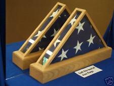 GOLDEN OAK AMERICAN FLAG QUADVIEW DISPLAY CASE OAK 5X9 VETERAN