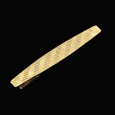 Classic 14k Solid Gold Diamond-cut Surface Modern Design Men's Tie Clasp Bar