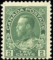 Mint H Canada F Scott #107 2c 1922 King George V Admiral Stamp
