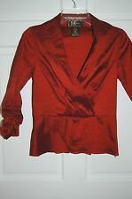 NEW wt R & K Rust Red Wrap Evening Top / Blouse WIDE COLLAR Shirred Sleeves  8P