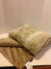 Dennis Basso 68x60 Oversized Sculpted Faux Mink Throw Sand Chinchilla H209226
