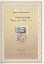 TIMBRE FDC ALLEMAGNE  BERLIN OBL ERSTTAGSBLATT PETER JOSEPH LENNE 1989