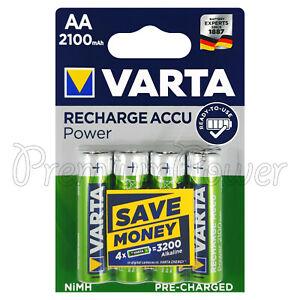 4 X VARTA Aa 2100mAh Piles Rechargeable NI-MH 1.2V HR6 LR6 Stilo Accu Puissance