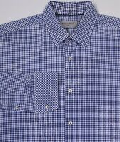 EQUILIBRIO Blue/White Checkered Slim Fit Cotton Dress Shirt~ Large