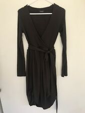 💎 KOOKAI WOOL fine Knit Stretch Wrap Bubble Shift Dress Winter Brown Sz Xs 8