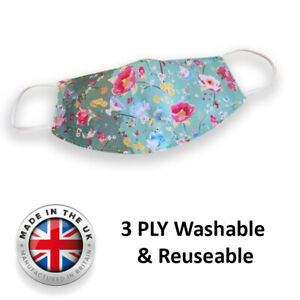 Floral Face Mask Mouth Covering Reusable Washable Made in the UK