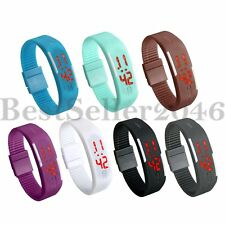 Fashion Sports Jelly Silicone LED Bracelet  Womens Mens Digital Wrist Watch Gift
