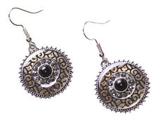 Gorgeous Enamel Swirl & Diamanté Black Stone Centre Hook on Earrings(Ns17)