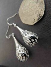 925 STUNNING SOLID SILVER  FANCY EARINGS -BEAUTIFUL-QUALITY- STUNNING