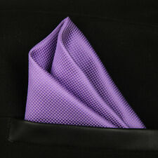 (T08)Purple Solid Men Silk Formal Pocket Square Hanky Wedding Party Handkerchief