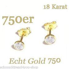 Ohrstecker Ohrringe 750 Gold 4 mm Zirkonia Schmuck Echt Goldschmuck Damen P2171