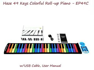 Haze EP49C 49 Keys Colorful Roll-up Piano,Silicon Hand Roll Keyboard,Waterproof