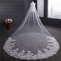 4M White Cathedral Lace Edge Sequins Bride Wedding Bridal Long Veil With Comb