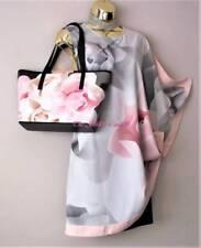 Ted Baker Lizeey Porcelain Rose Print Evening Tunic Dress Size 14 (TB 4) Bag Lst